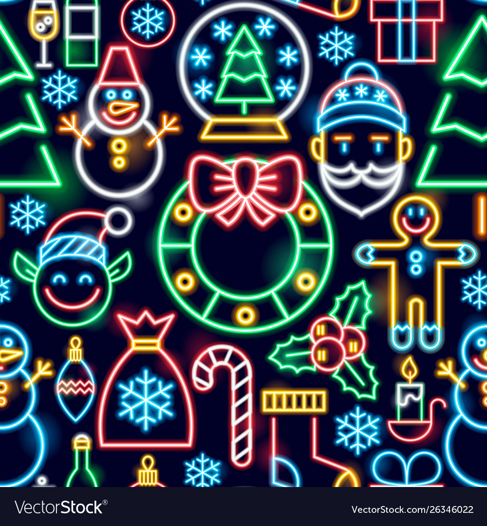 Christmas neon seamless pattern
