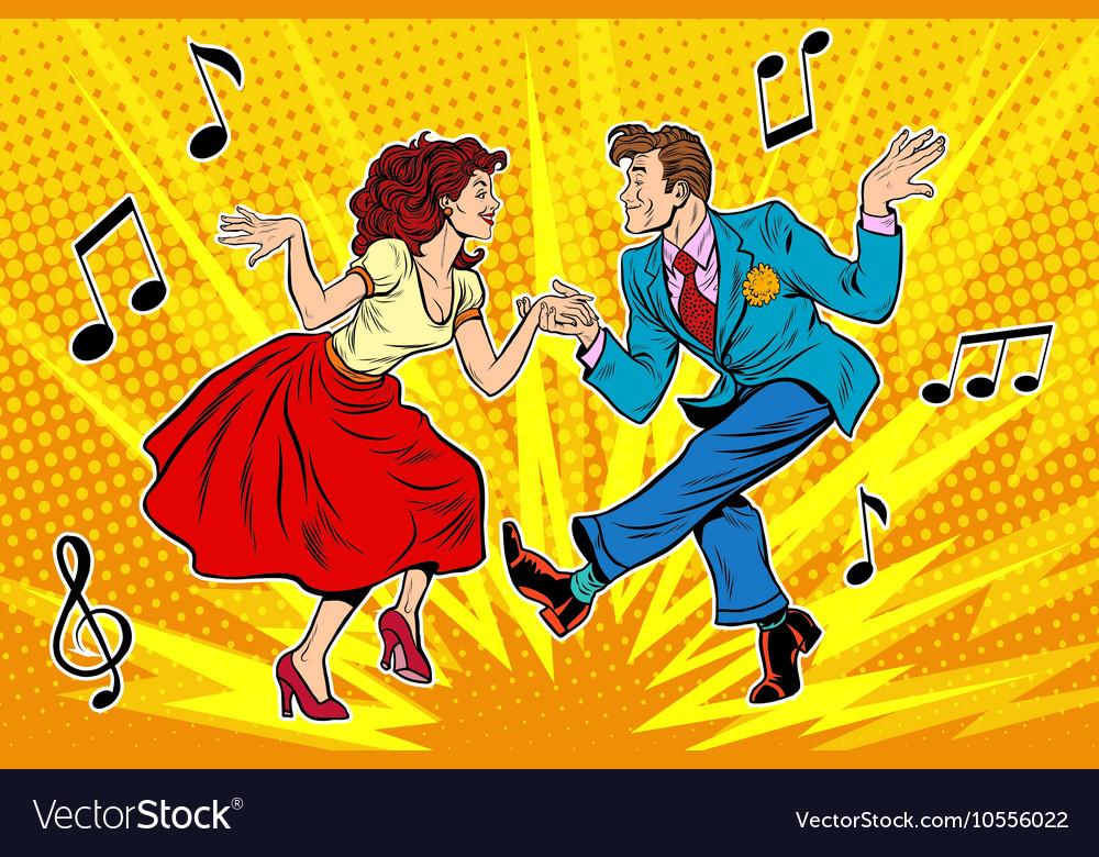 Couple man and woman dancing vintage dance