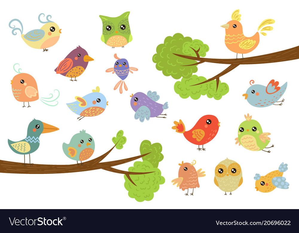 Cute bird characters set cute colorful cartoon