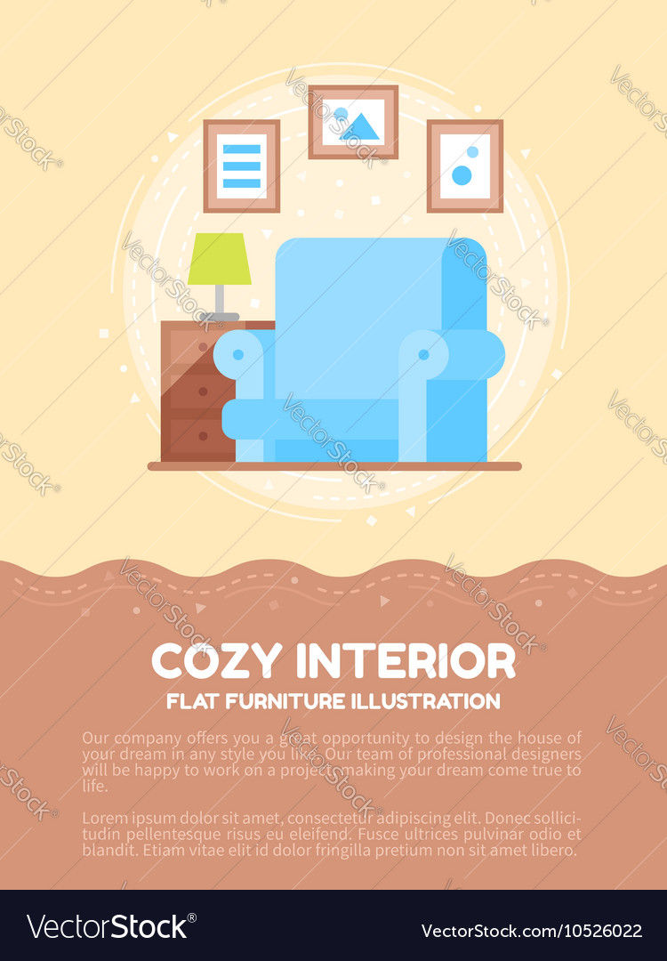 Flat cozy interior of a living room vector image
