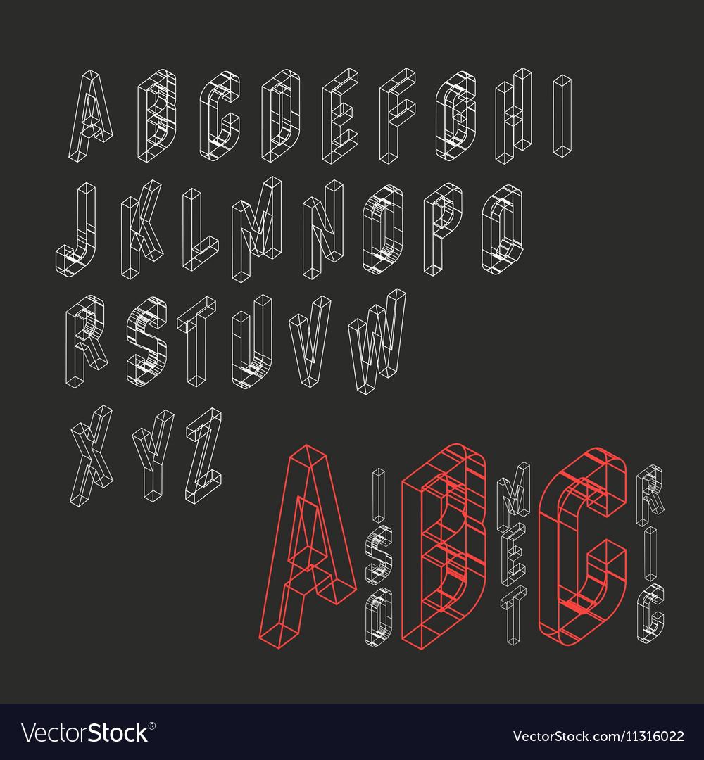 Isometric Alphabet Blueprint abstract background