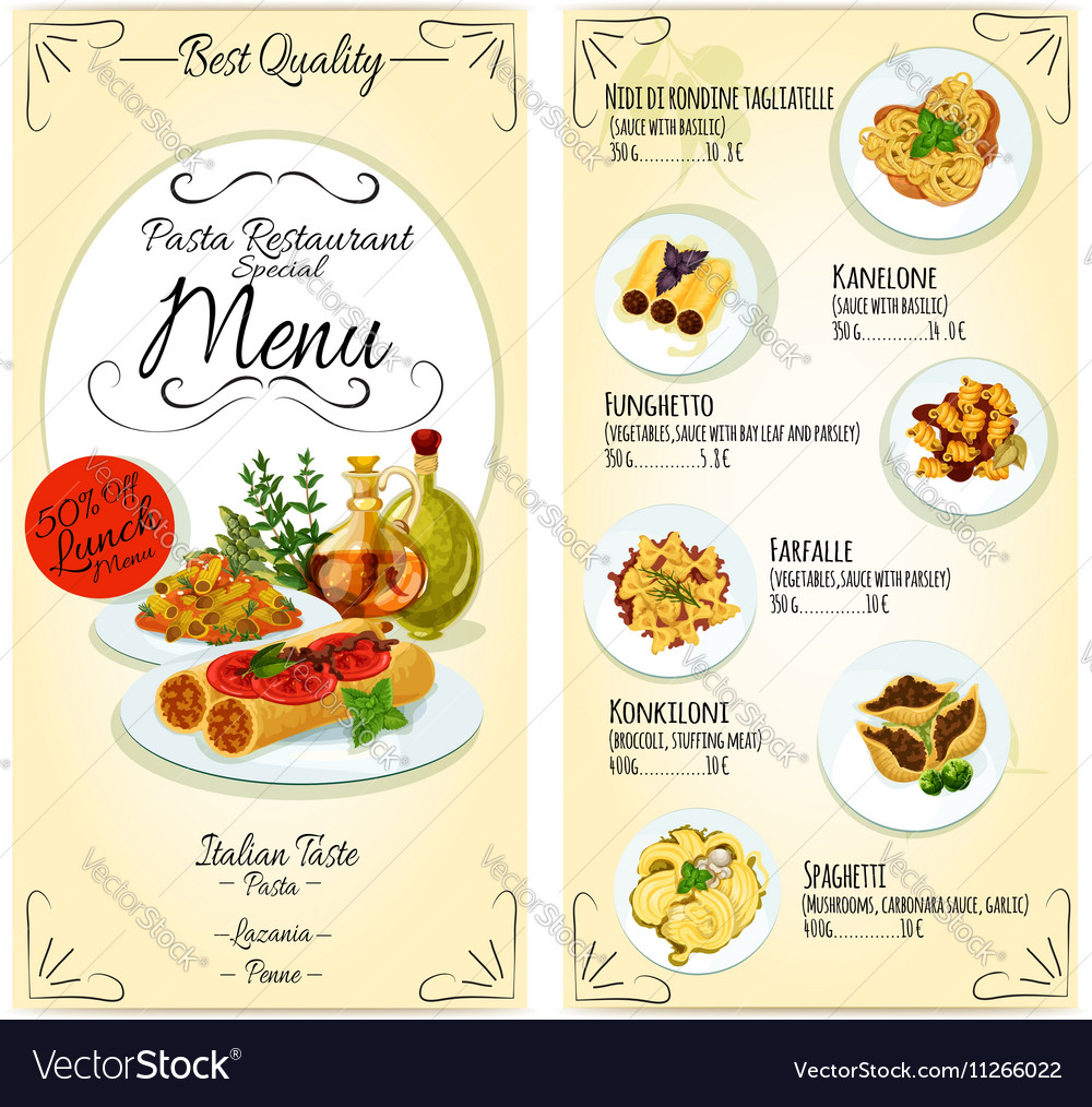 Italian pasta restaurant menu card template vector image