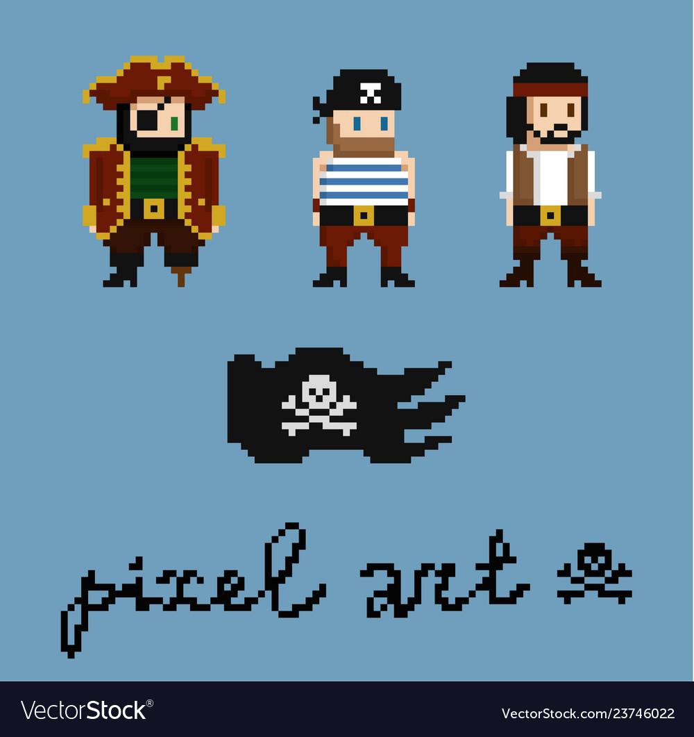 Pixel art characters set pirate crew members
