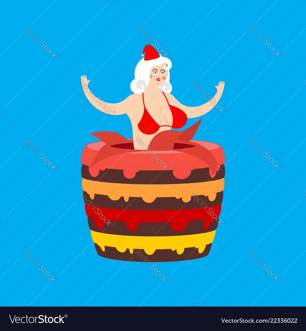 Santa girl from cake striptease congratulation