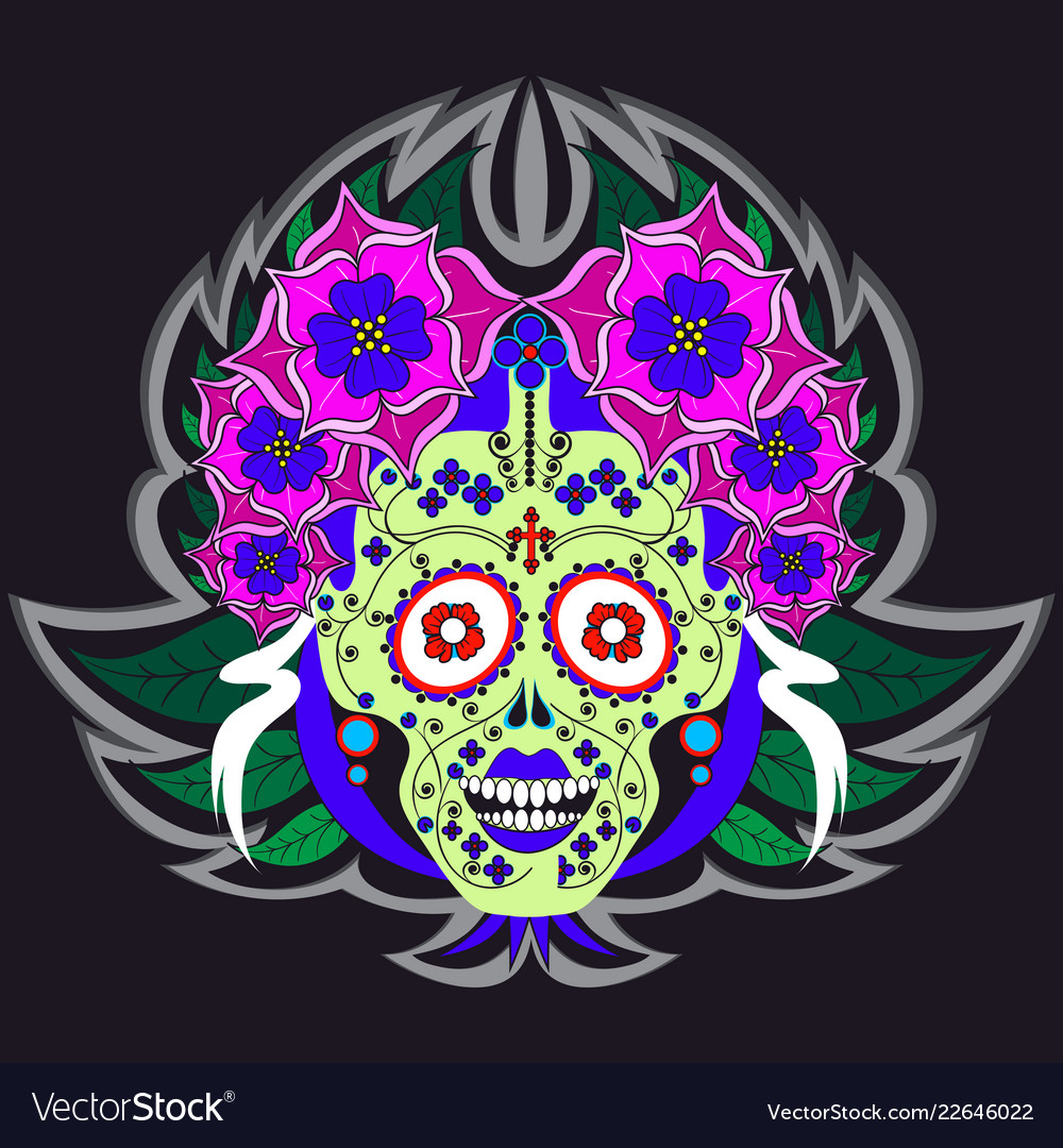 Woman skeleton with flowers and floral ornament
