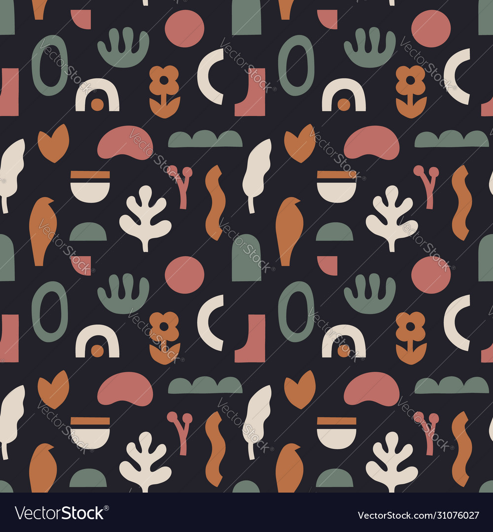 Abstract seamless pattern in trendy collage style