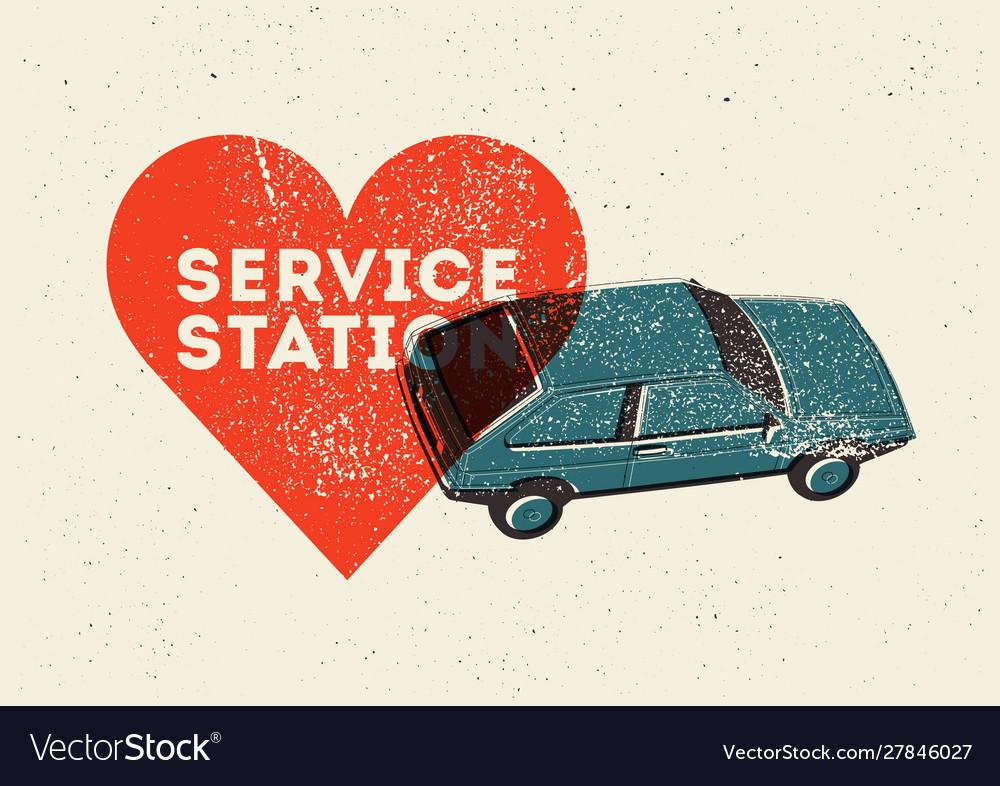 Car service station vintage style grunge poster