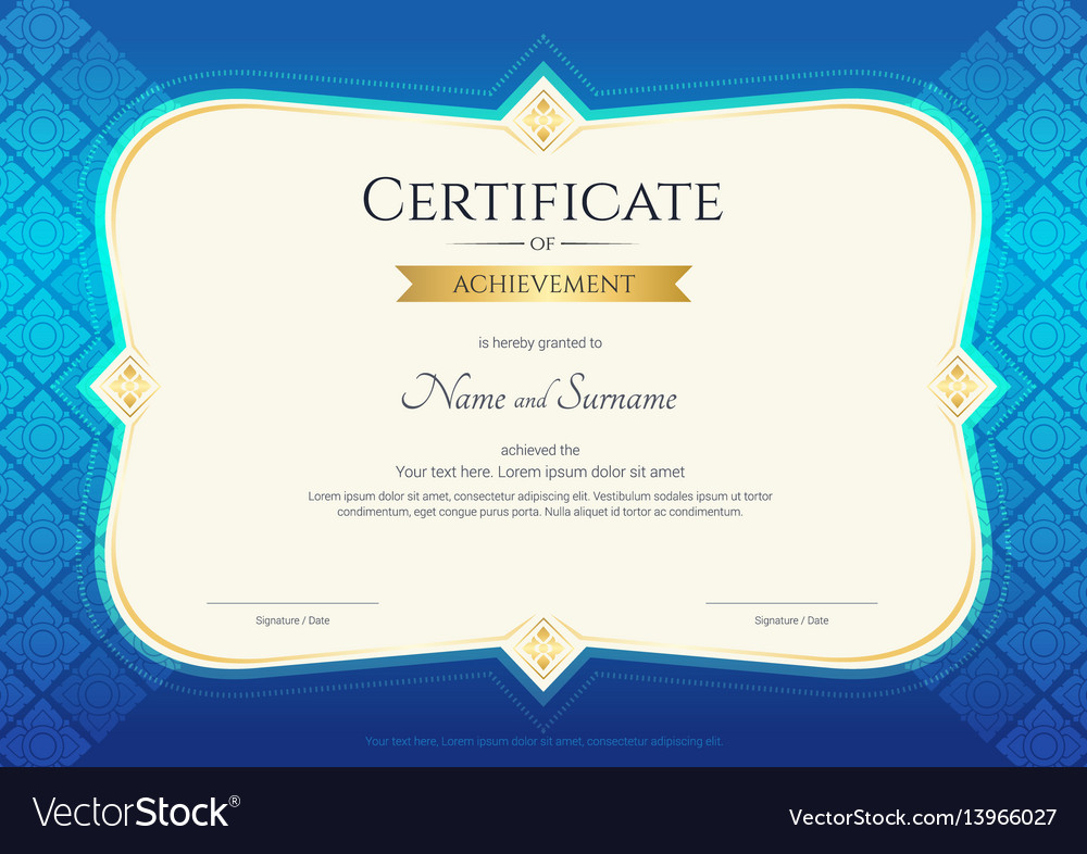 Certificate of achievement template thai art vector image