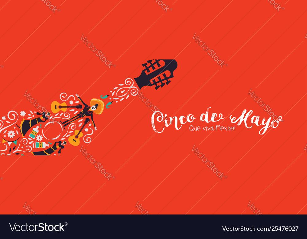 Cinco de mayo banner mariachi guitar decoration
