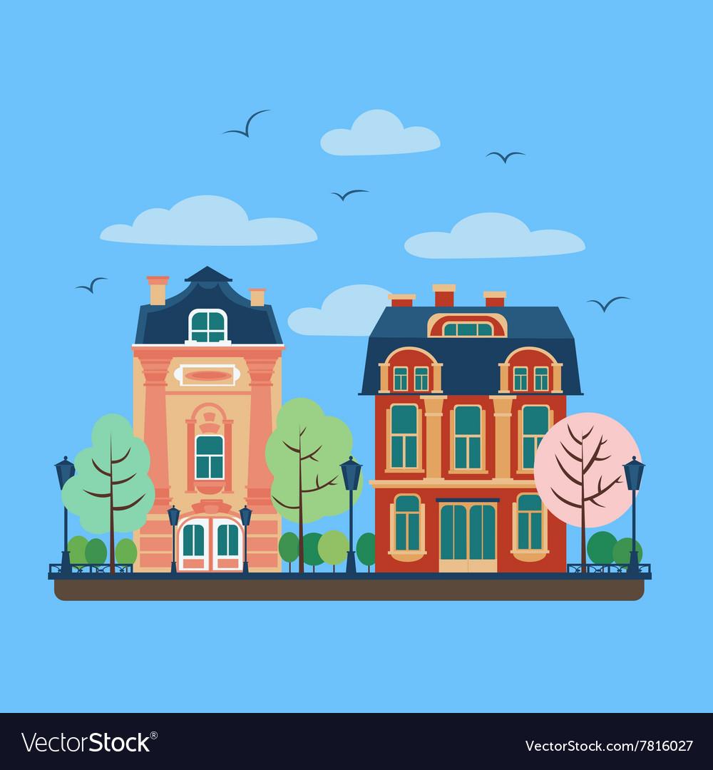European City Urban Landscape with Vintage Houses