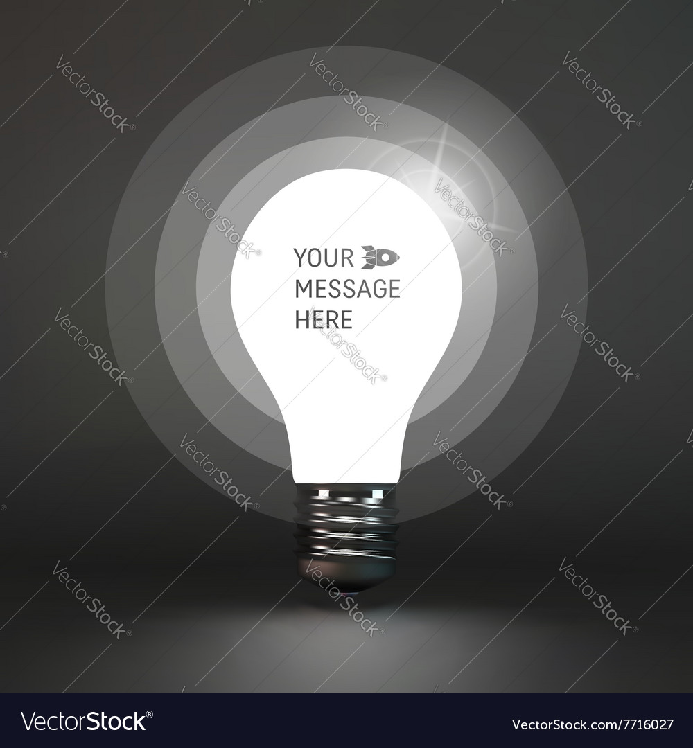 Lightbulb Idea Symbol Place For Text 3d Royalty Free Vector