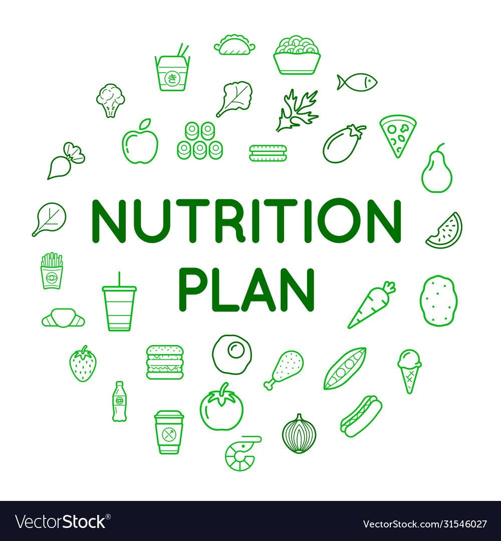 Nutrition plan icons with sign in circle shape