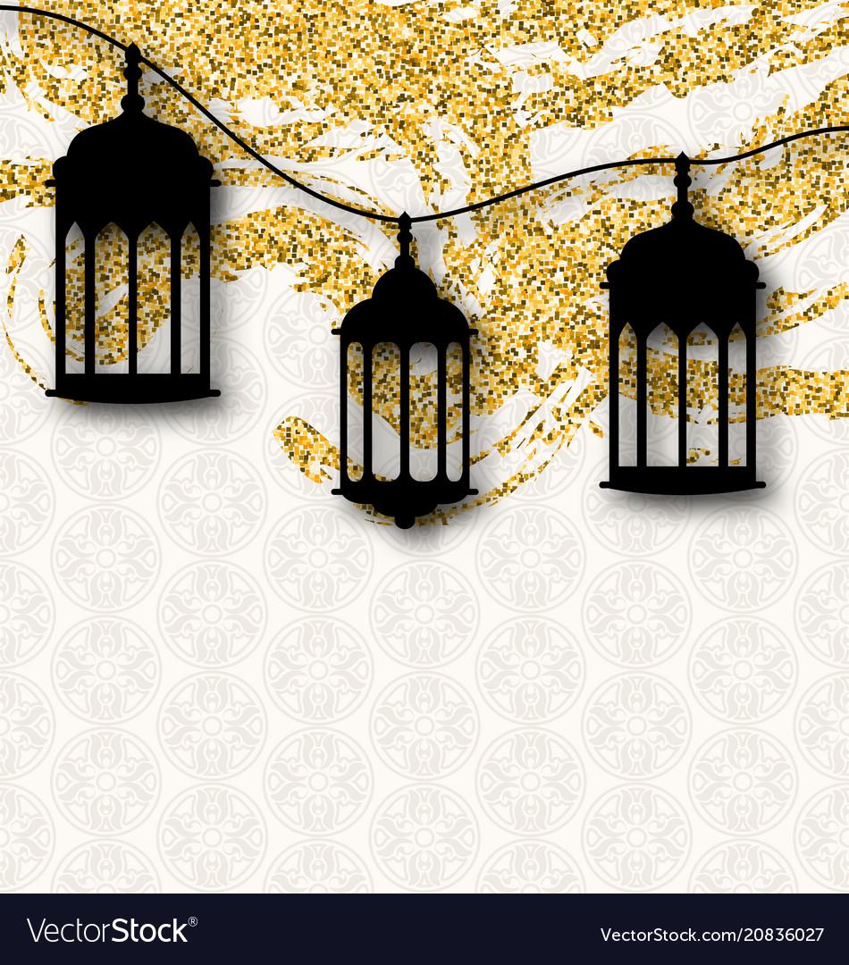 Ramadan kareem greeting card calligraphy with