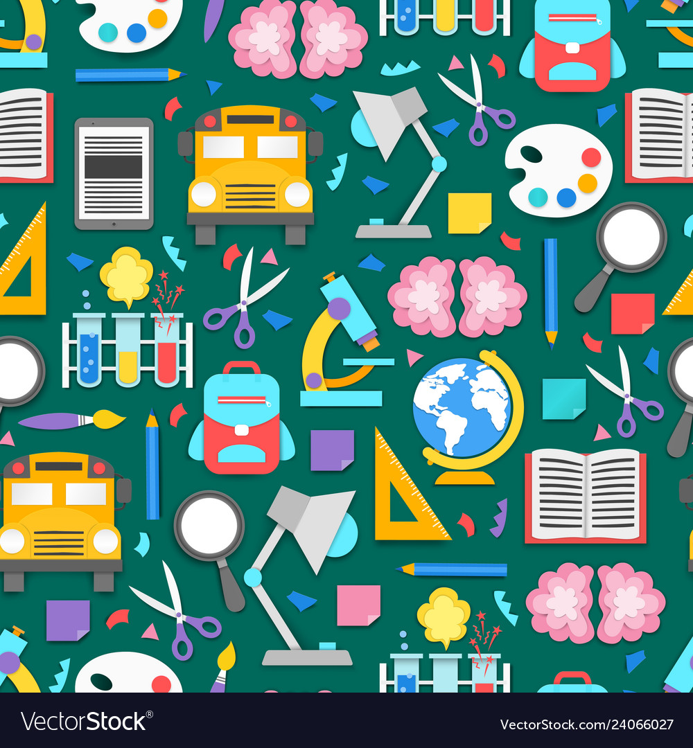 Seamless pattern with different school supplies on