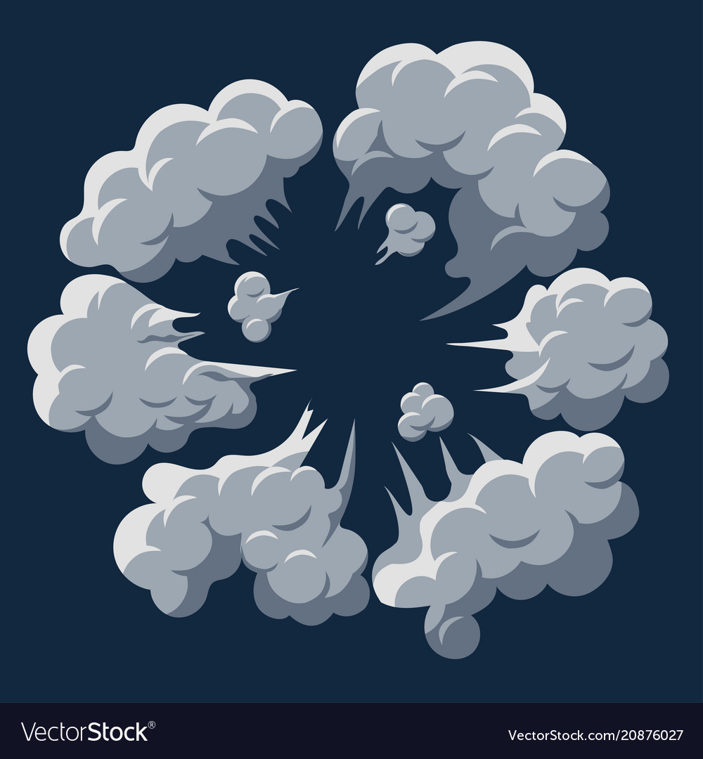 Smoke cloud explosion dust puff cartoon frame vector image
