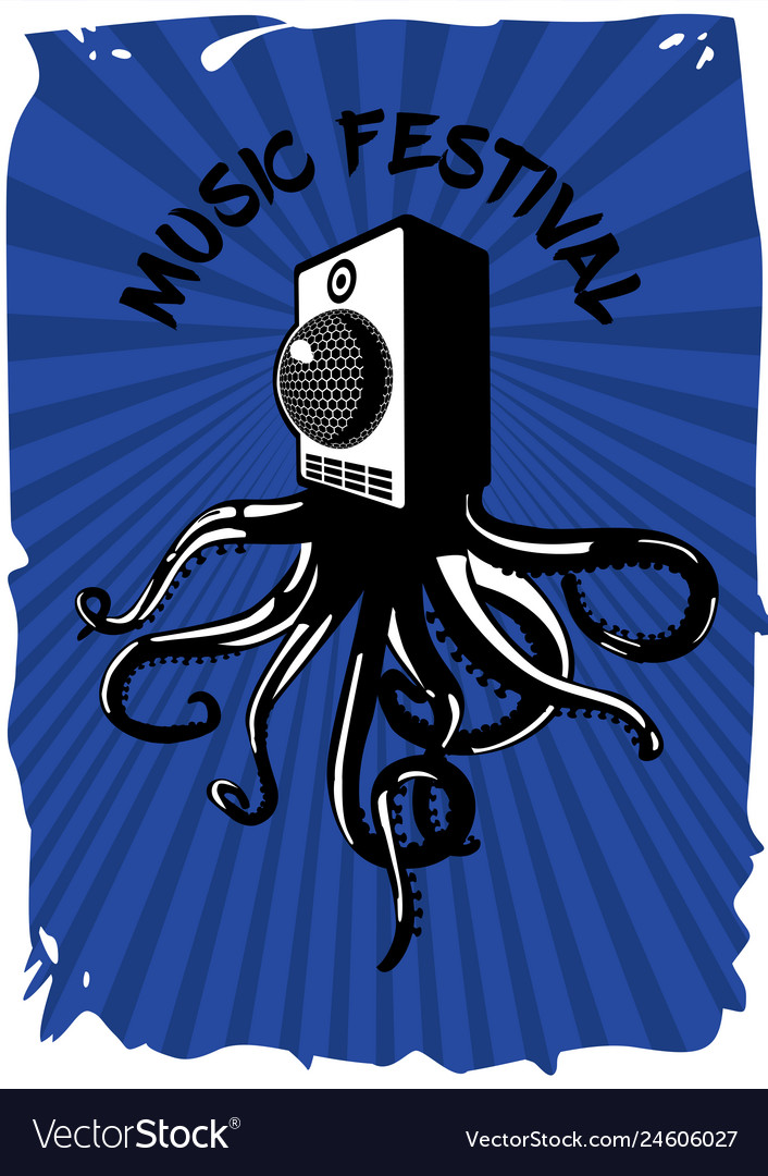 Speaker sound system with octopus music festival