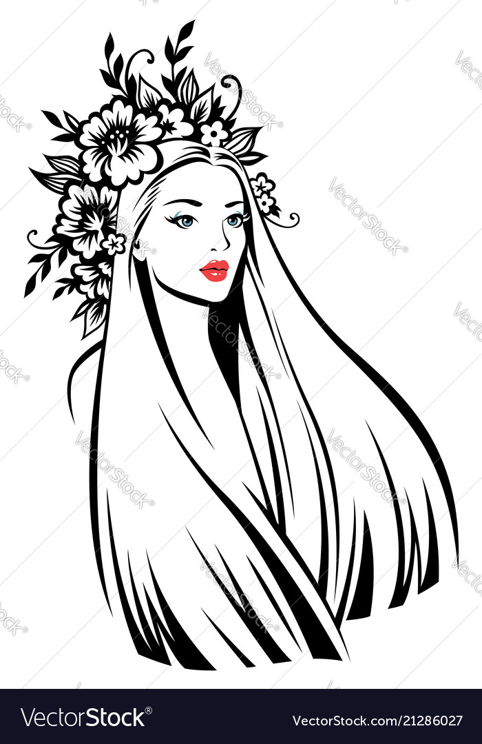 Woman at floral wreath