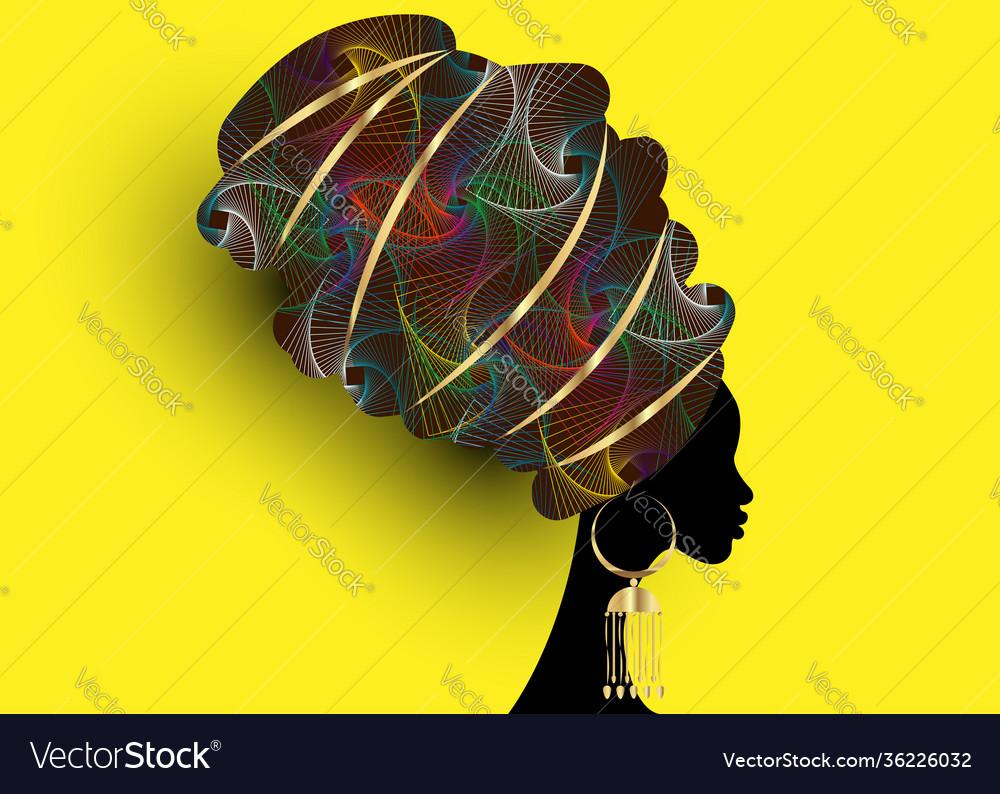 Beautiful african woman in traditional wax turban