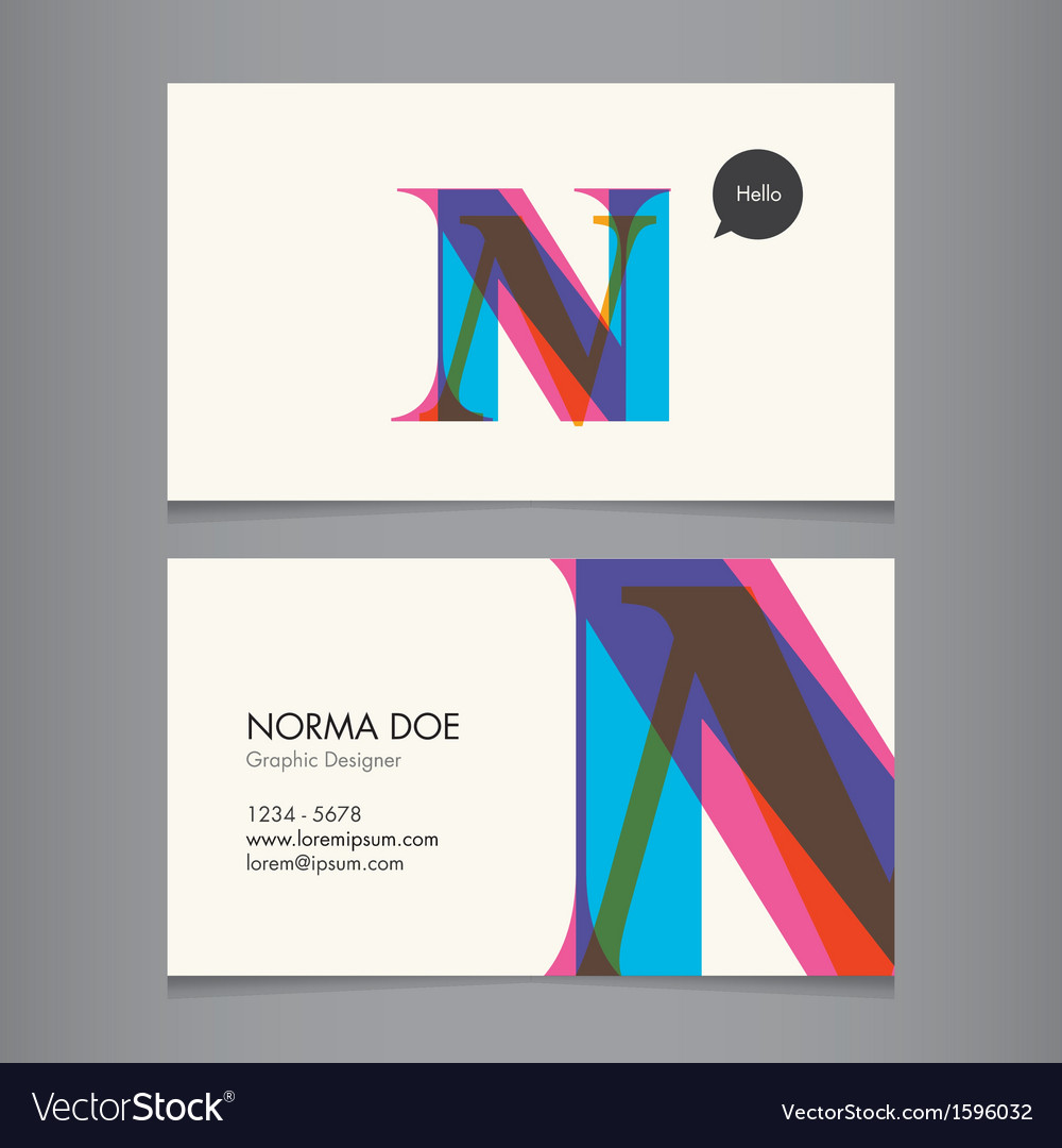 Business card template letter N