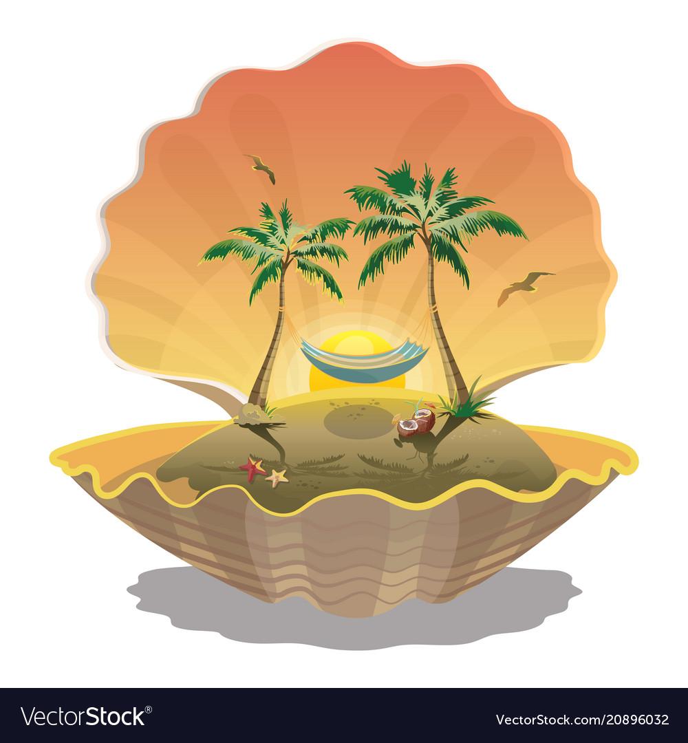 Cartoon island at sunset in seashell