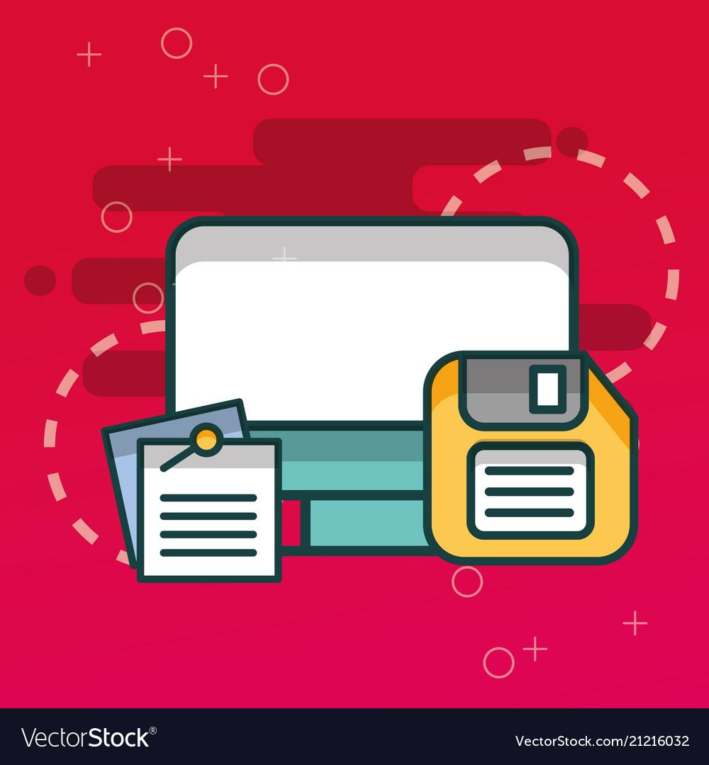 computer and floppy paper notes office royalty free vector rh vectorstock com Computer Screen Vector Laptop Vector