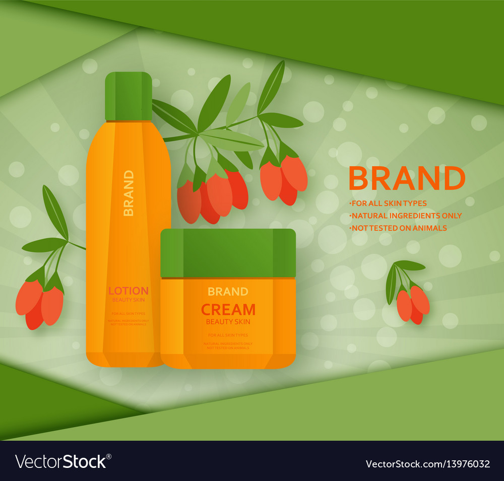 Cream and lotion bottles with its ingradient berry