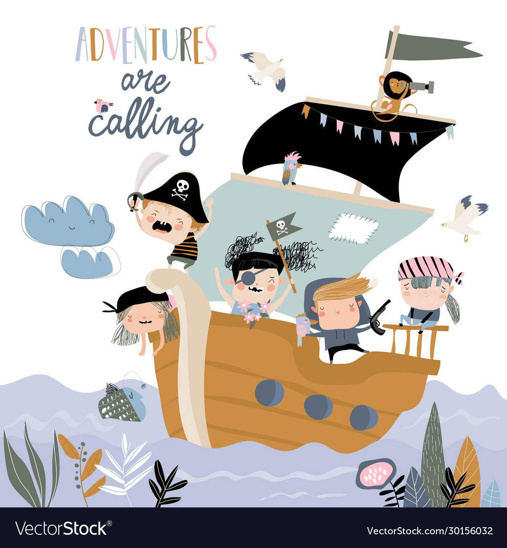 Cute cartoon kids pirates sailing in their ship