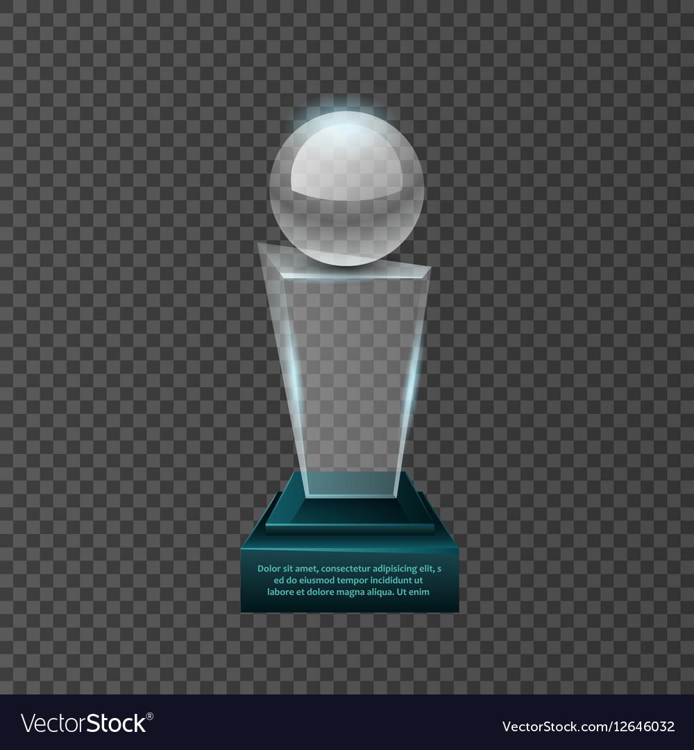 Empty glass trophy awards set design