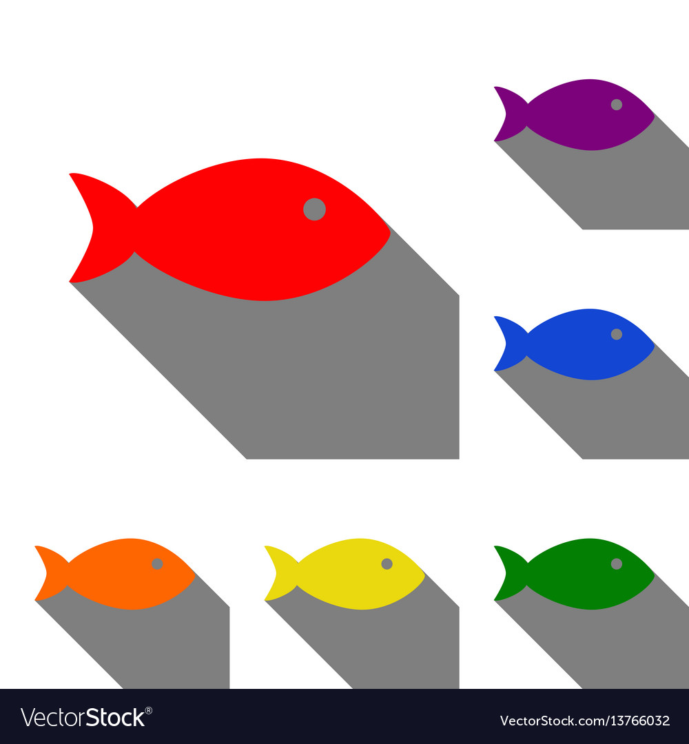 Fish sign set of red orange yellow Royalty Free Vector Image
