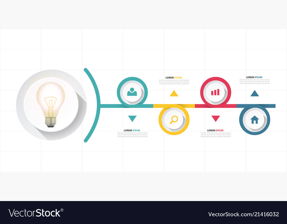Infographic bulb design four chart template