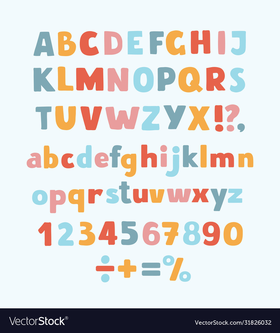 Multicolored kids font letters numbers