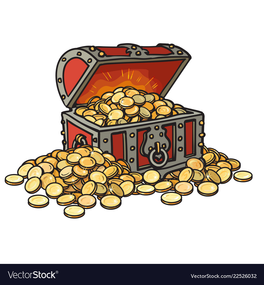 Old chest with gold coins piles coins around