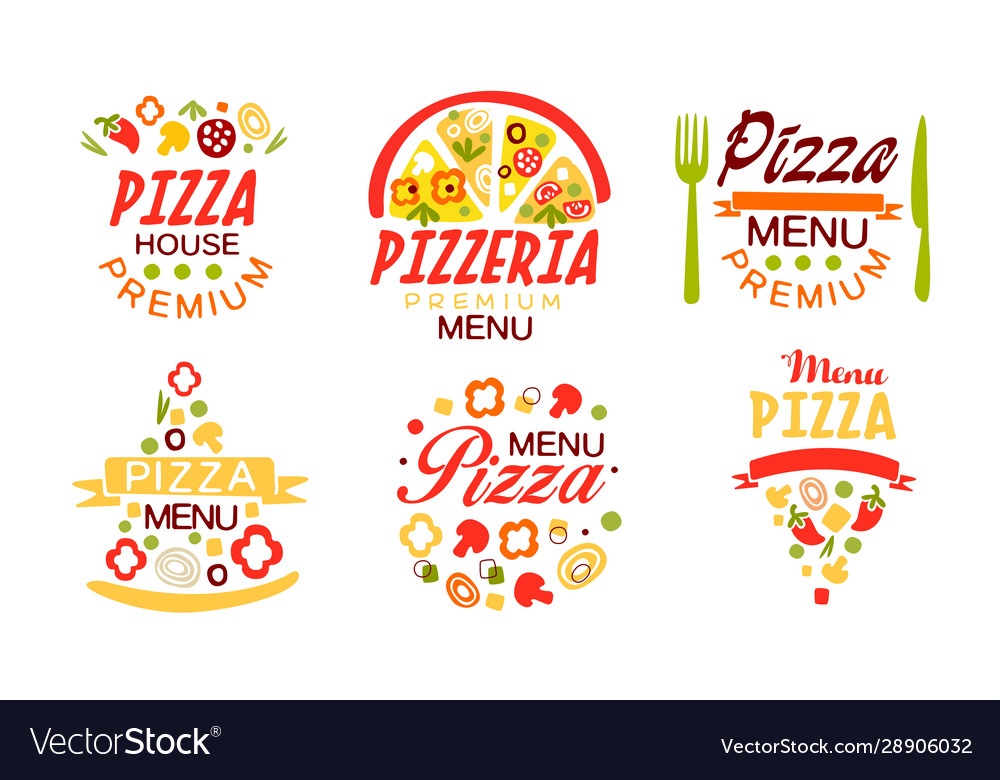 Pizza menu labels collection fast food restaurant