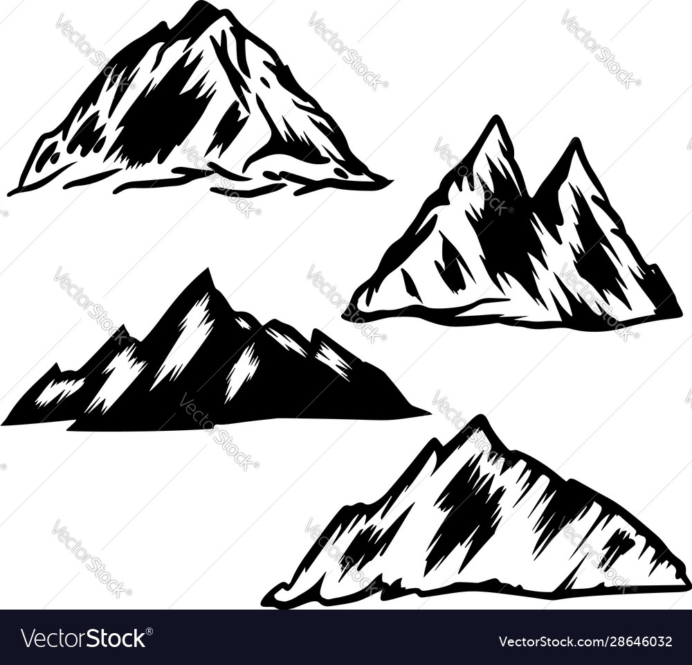 Set hand drawn mountain design element for