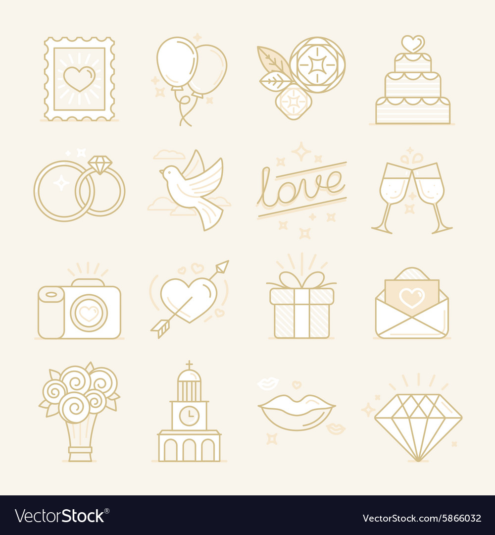 Set of linear icons related to love
