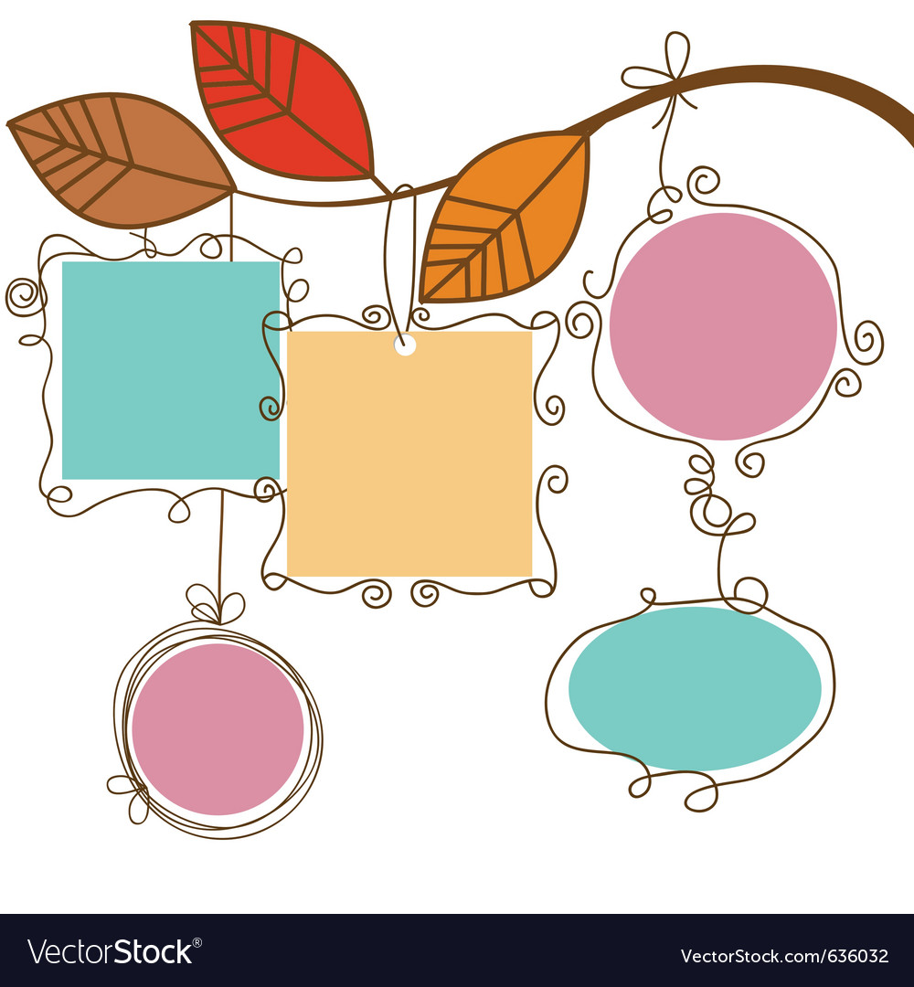 Tree branch hanging frames Royalty Free Vector Image