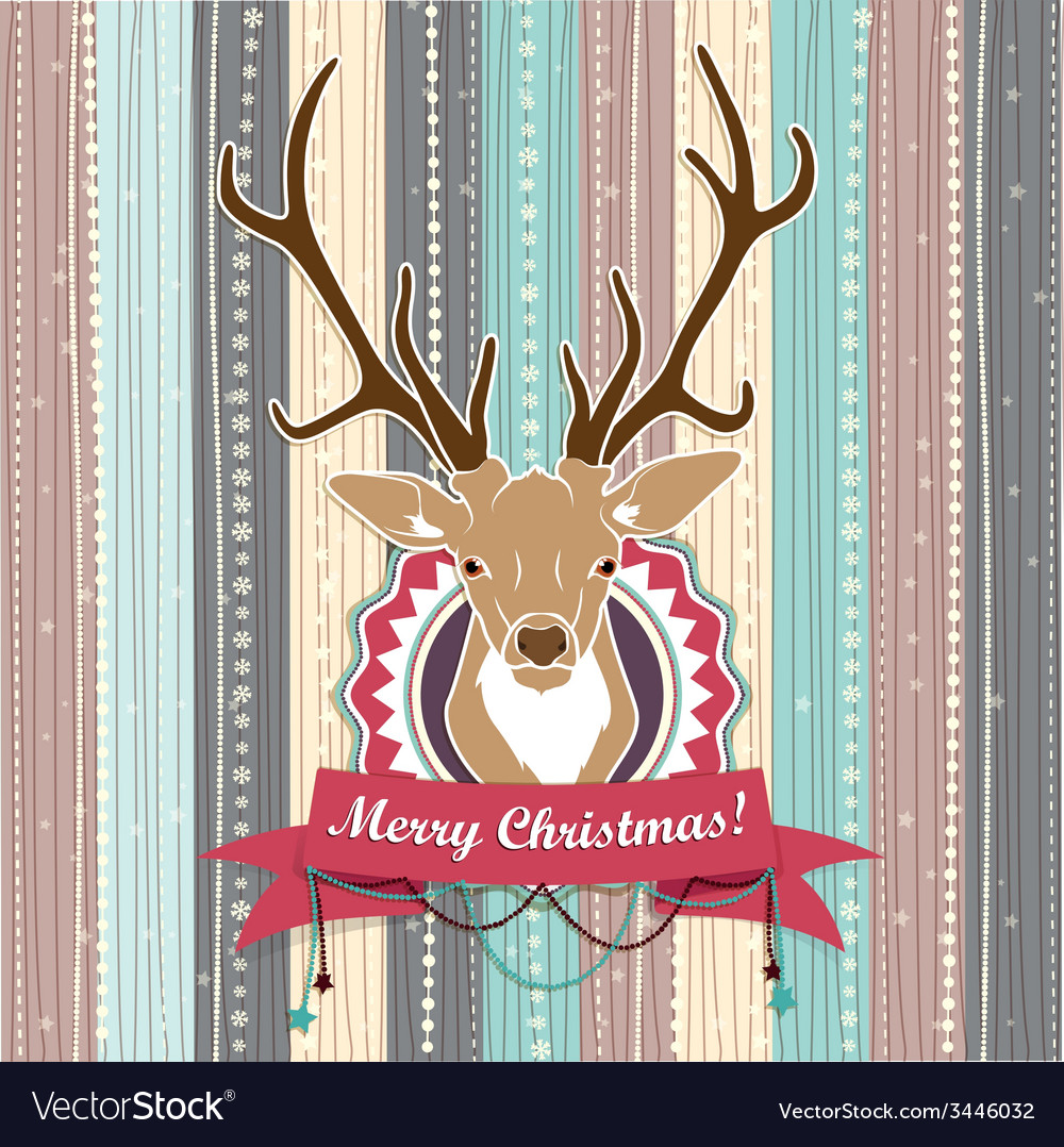 Vintage Christmas card with Deer Cold Pastel