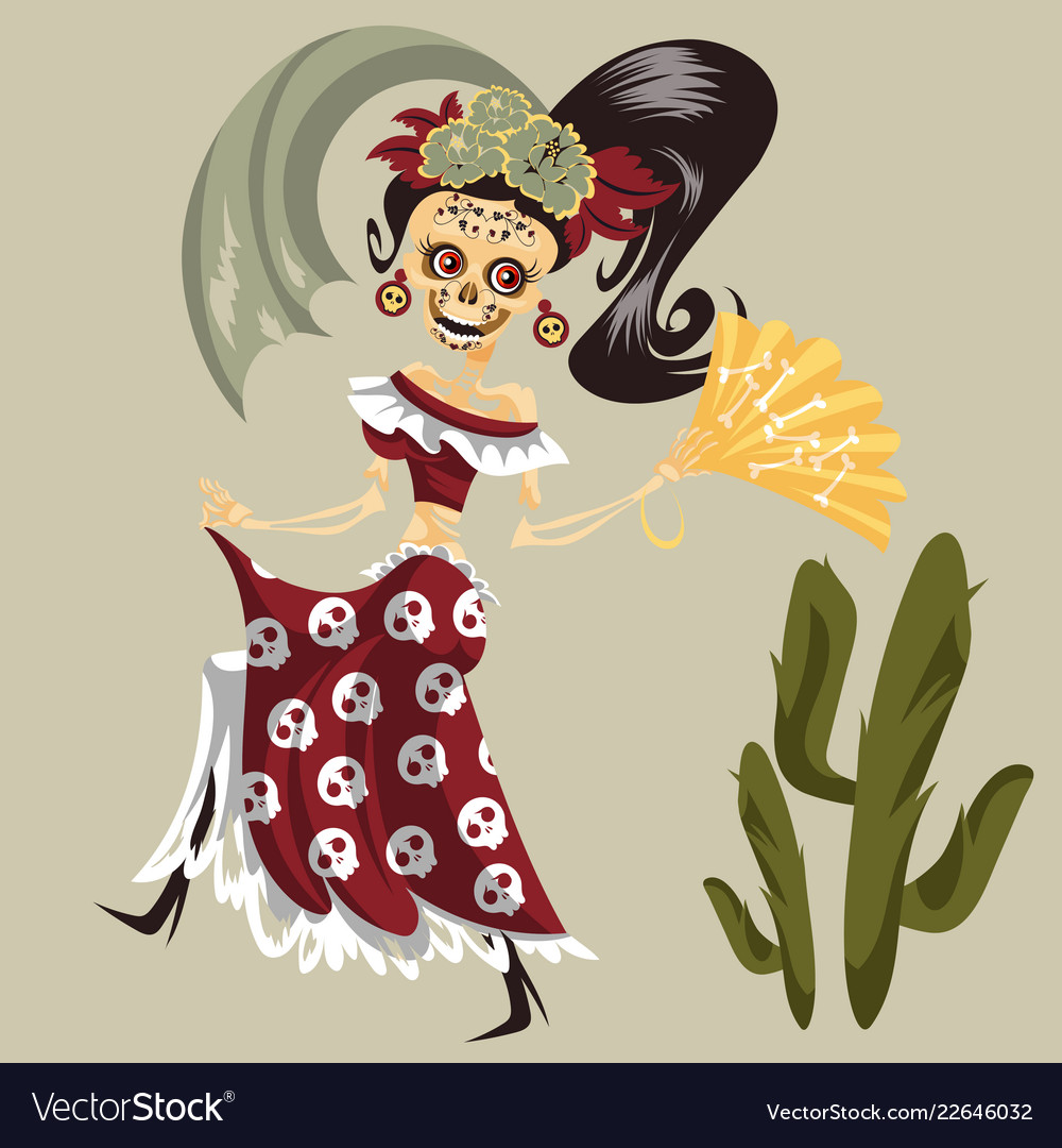 Woman skeleton in mexican costume dancing poster