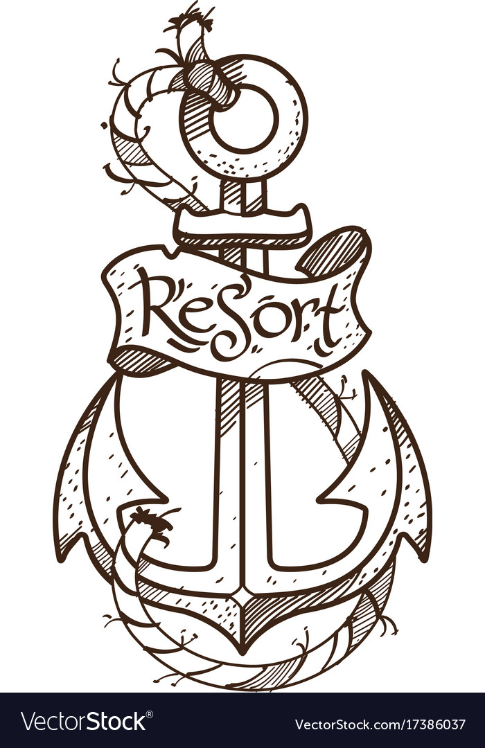 anchor logo sketch of tattoo outline on the theme vector image