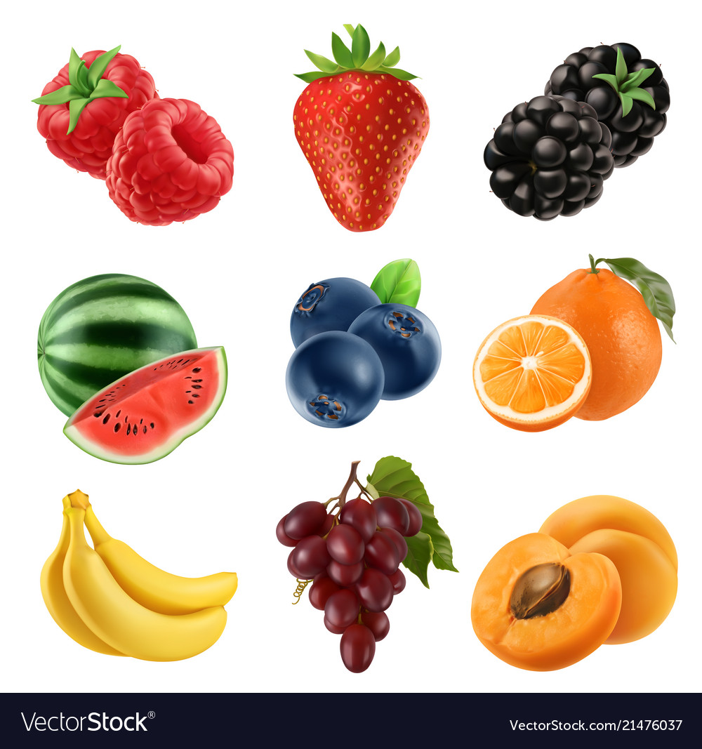 Fresh fruit 3d icons set realistic Royalty Free Vector Image 43a6d413e