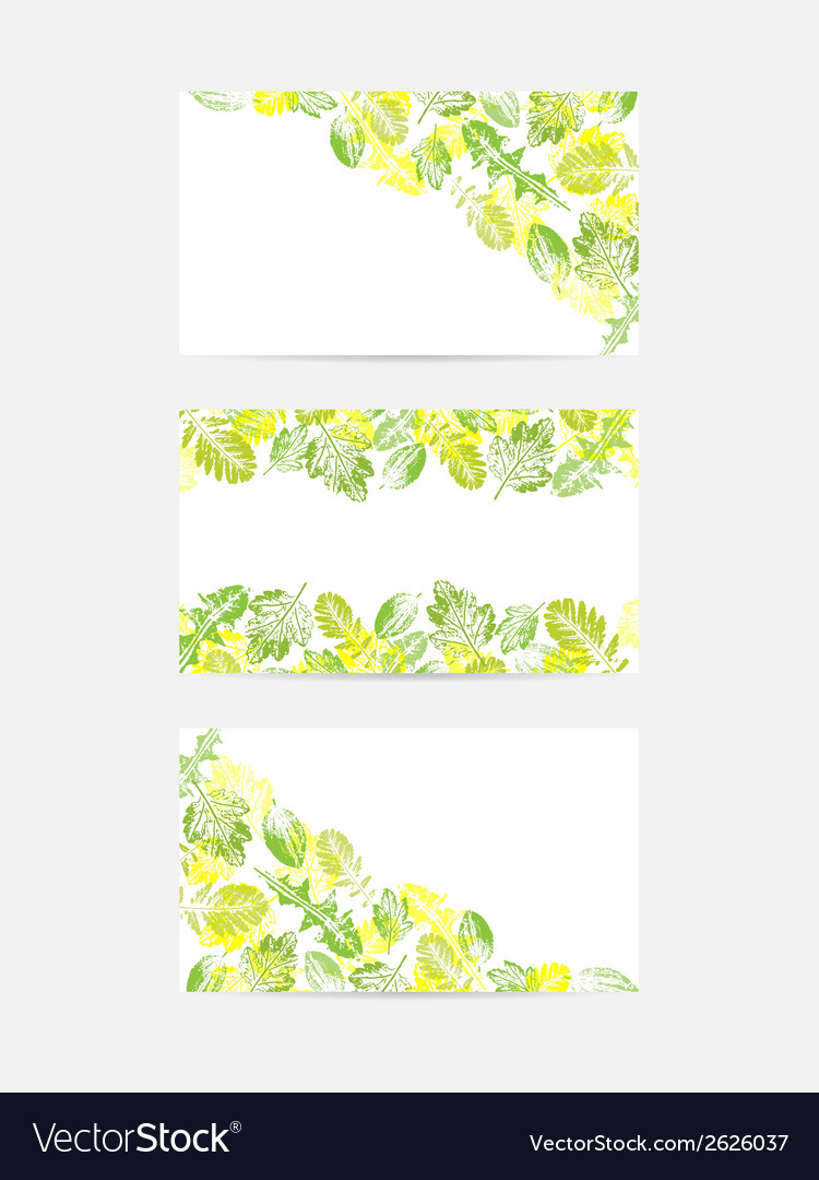 Green Leaves Greeting Cards Royalty Free Vector Image