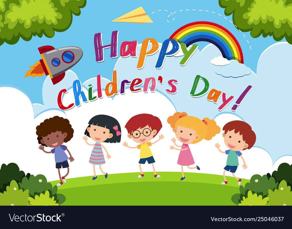 Happy Childrens Day Logo Royalty Free Vector Image
