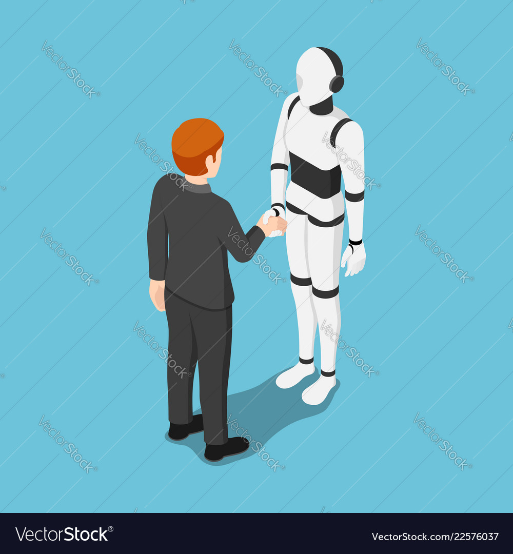 Isometric businessman shake hands with ai robot
