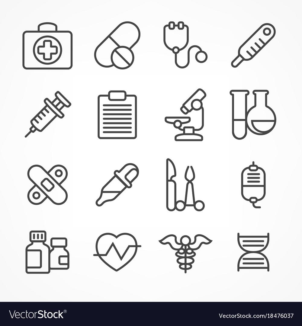 Medical line icons on white