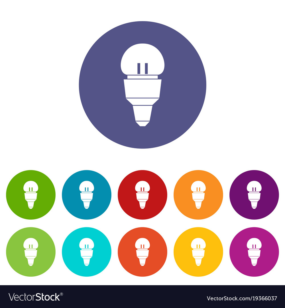 Reflector bulb set icons vector image
