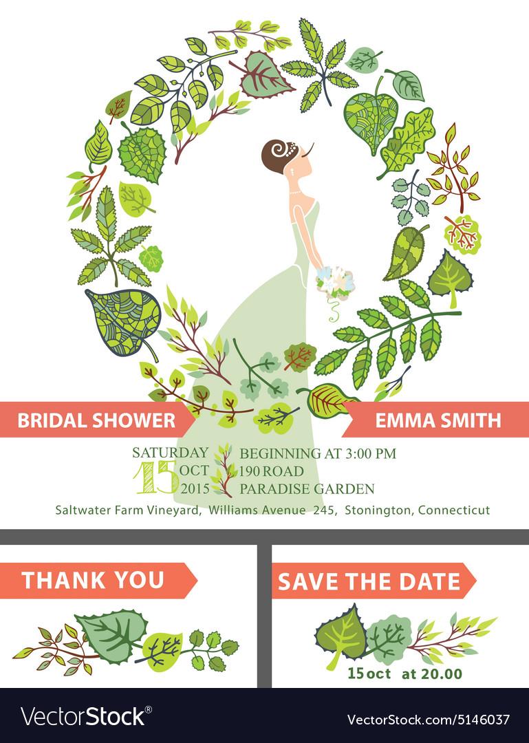 Retro bridal shower invitation setbridegreen vector image filmwisefo