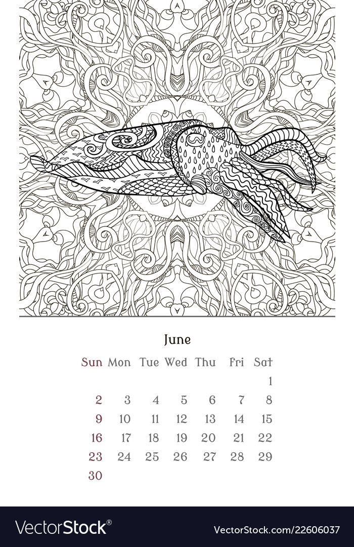 - Sea Anti Stress Coloring Page For Calendar 2019 Vector Image