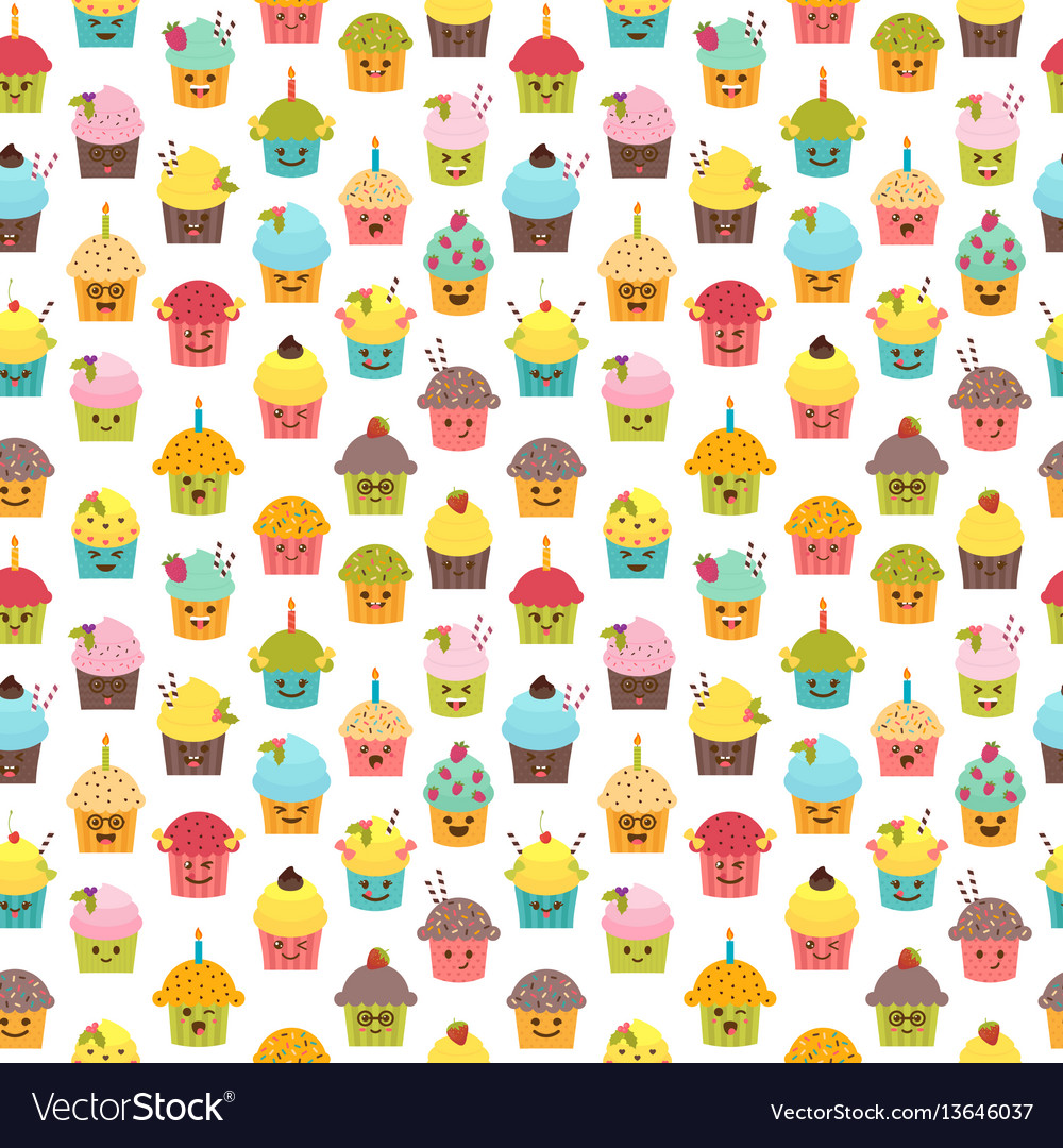 Seamless pattern with cupcakes and muffins kawaii