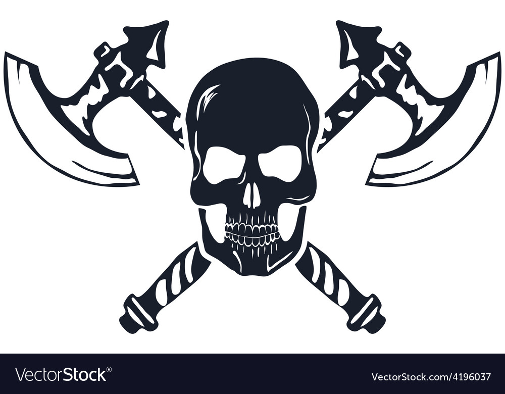 Skull with Crossed Axes isolated on white