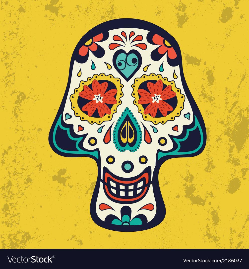 Sugar skull on grunge background